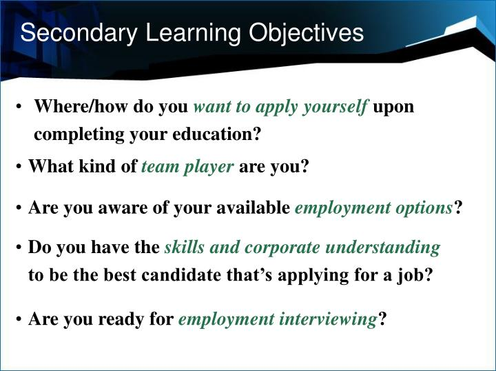 Secondary Learning Objectives