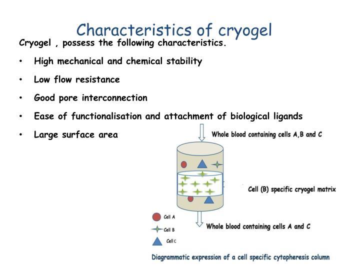 Characteristics of cryogel