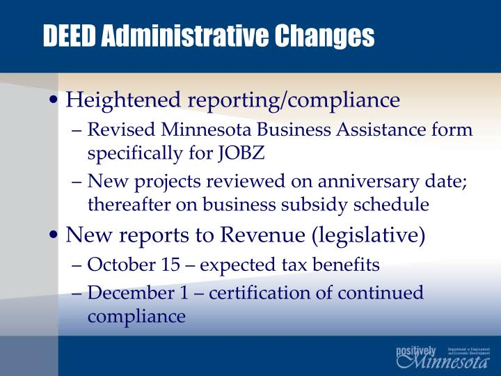 DEED Administrative Changes