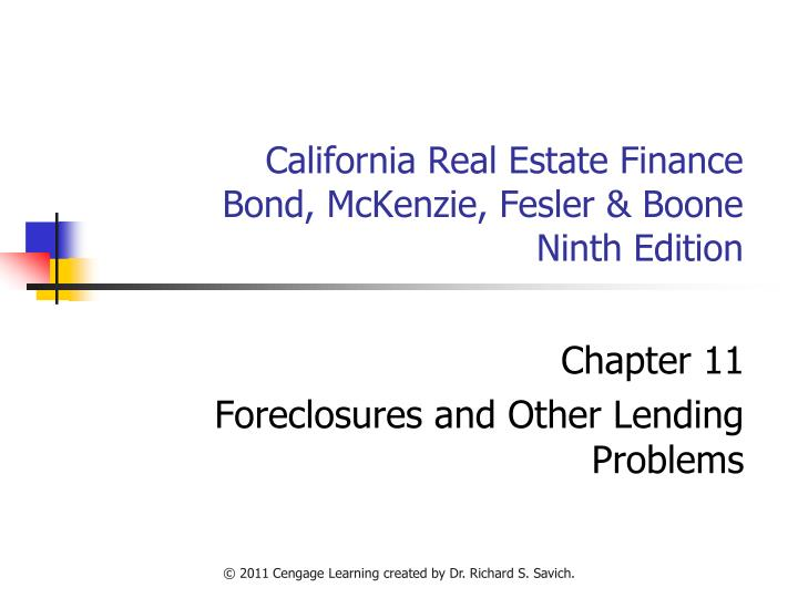 California real estate finance bond mckenzie fesler boone ninth edition