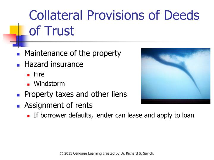 Collateral Provisions of Deeds of Trust