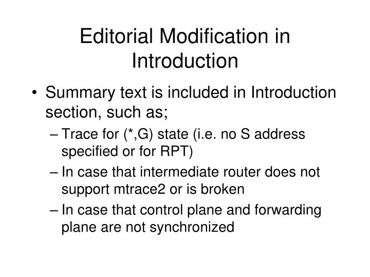 Editorial Modification in Introduction