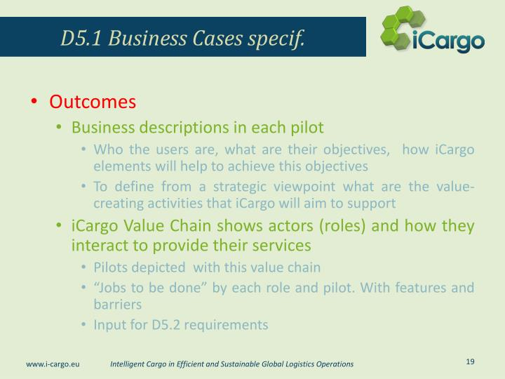 D5.1 Business Cases specif.