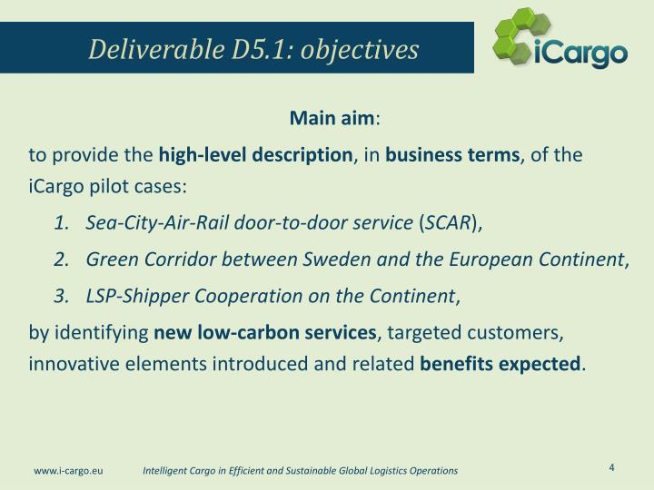 Deliverable D5.1: objectives