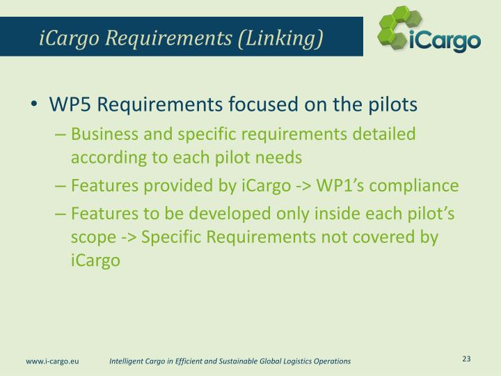 iCargo Requirements (Linking)