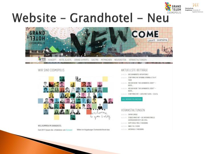 Website – Grandhotel - Neu