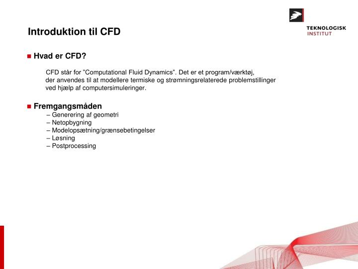 Introduktion til cfd