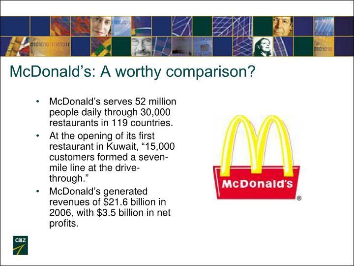 McDonald's: A worthy comparison?