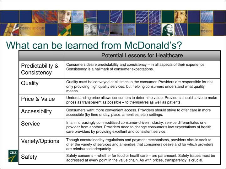 What can be learned from McDonald's?