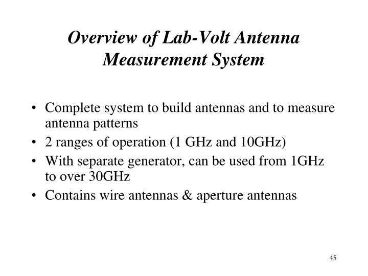 Overview of Lab-Volt Antenna Measurement System