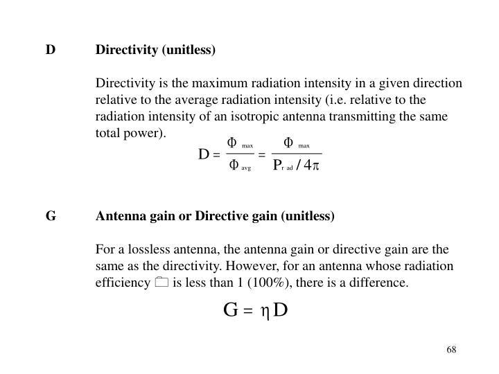 DDirectivity (unitless)