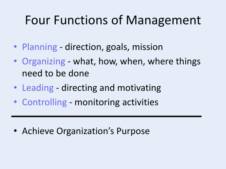 four functions of management essays Free essay: the planning stage is where all the other pats of management begin from and it is important at all levels of management the way planning is used.