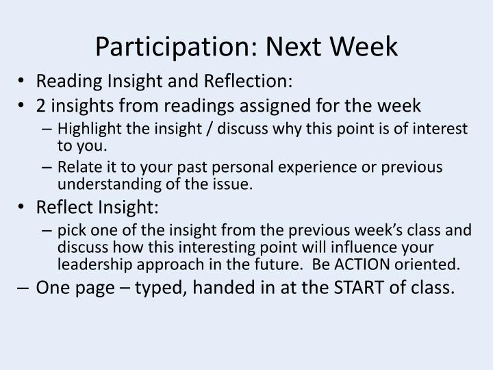 Participation: Next Week