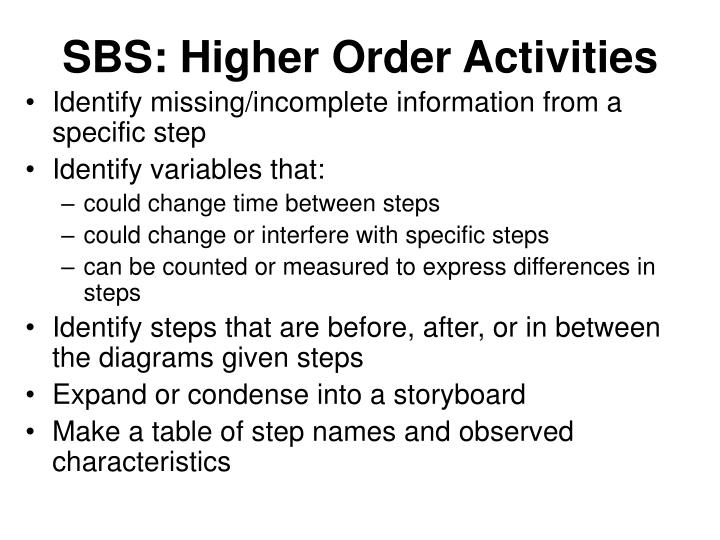 SBS: Higher Order Activities
