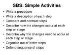 sbs simple activities