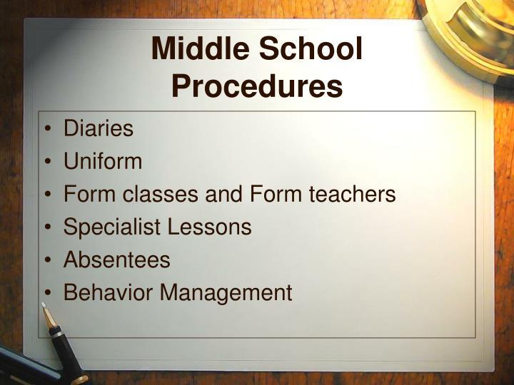 Middle School Procedures