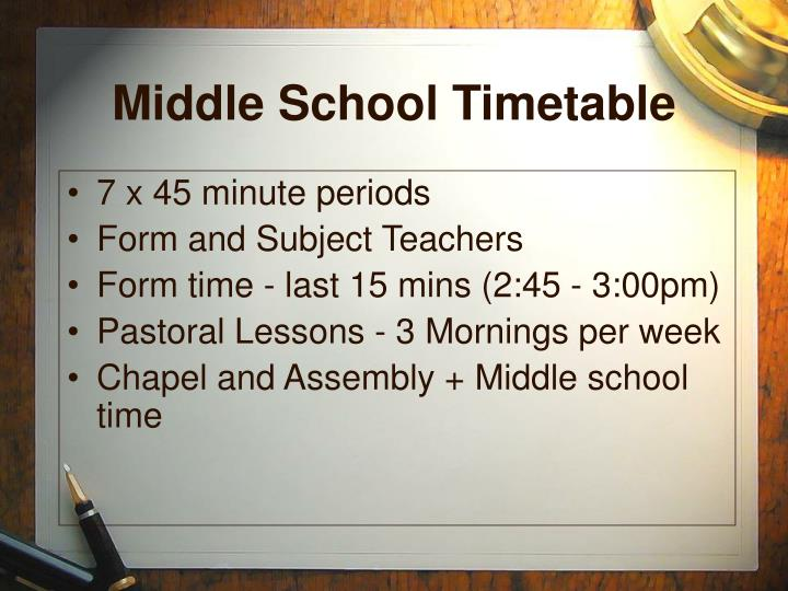Middle School Timetable
