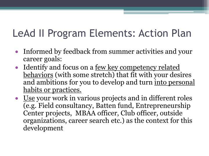 LeAd II Program Elements: Action Plan