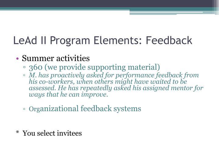 LeAd II Program Elements: Feedback