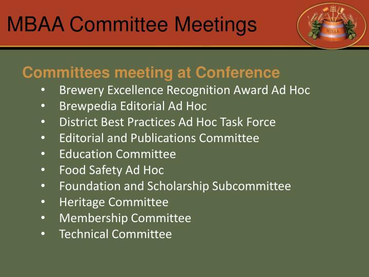 MBAA Committee Meetings