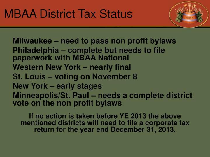 MBAA District Tax Status