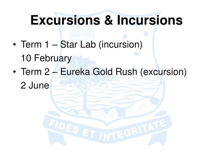 Excursions & Incursions