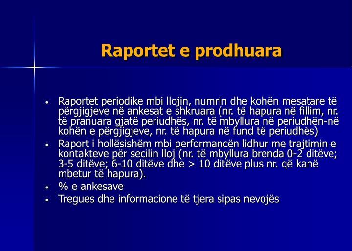 Raportet e prodhuara