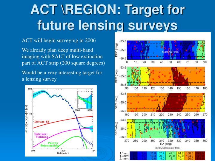 ACT \REGION: Target for future lensing surveys