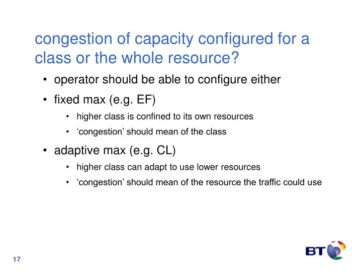 congestion of capacity configured for a class or the whole resource?