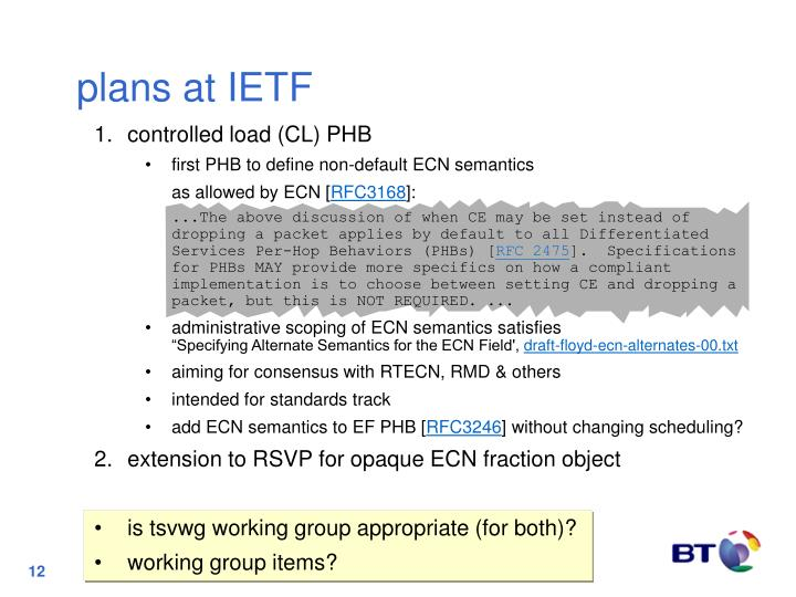 plans at IETF