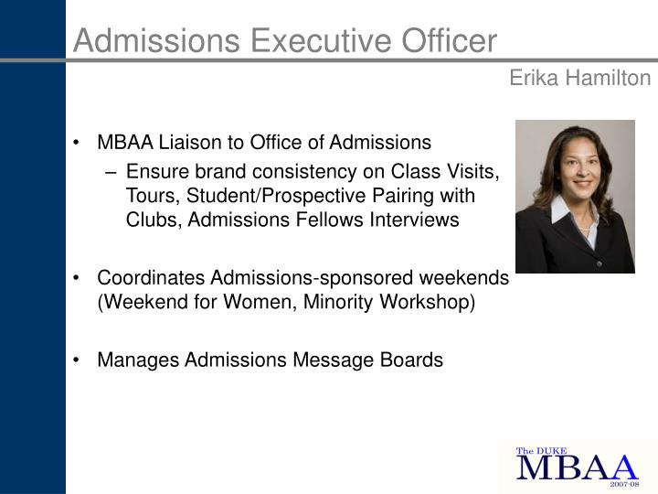 Admissions Executive Officer