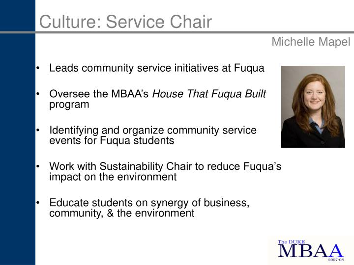 Culture: Service Chair