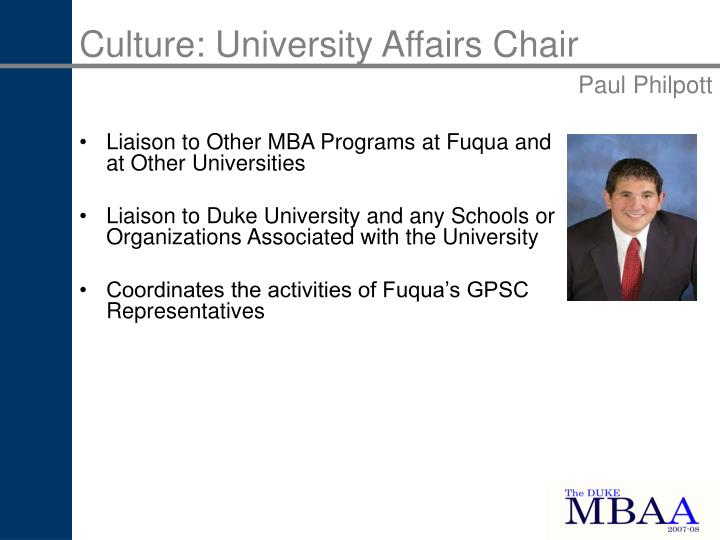 Culture: University Affairs Chair