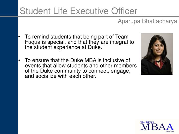 Student Life Executive Officer