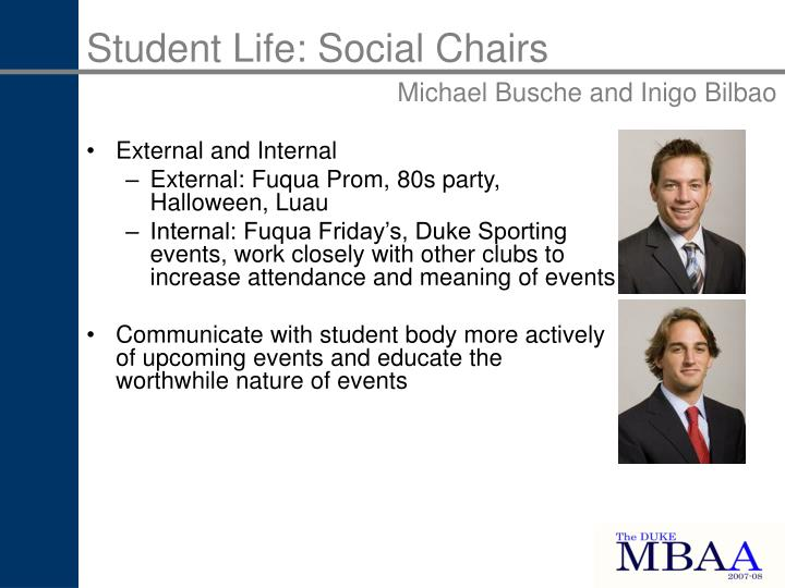Student Life: Social Chairs