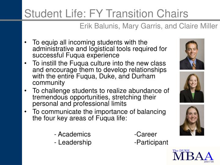 Student Life: FY Transition Chairs