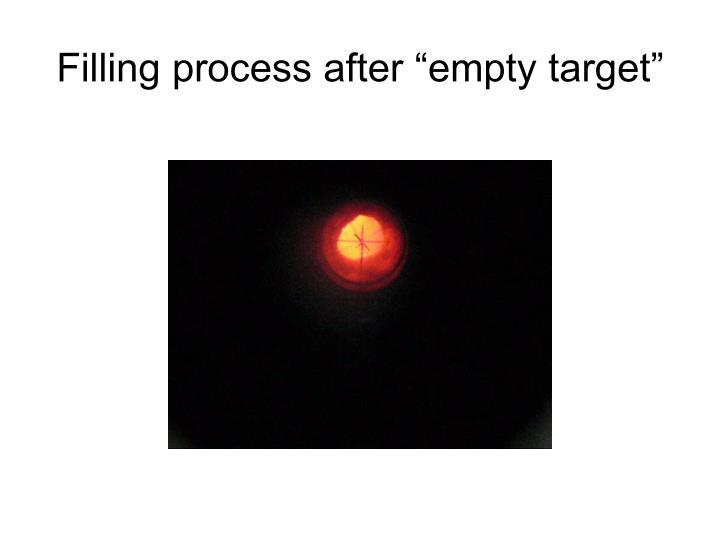 """Filling process after """"empty target"""""""
