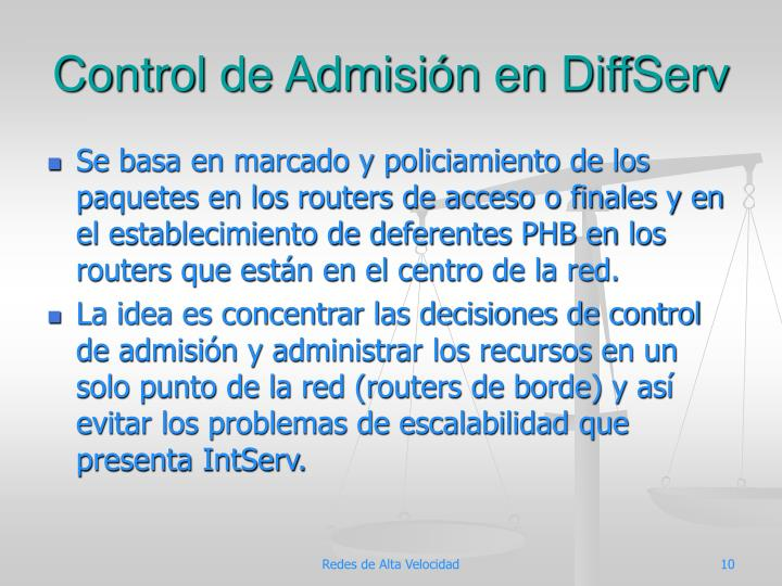 Control de Admisión en DiffServ