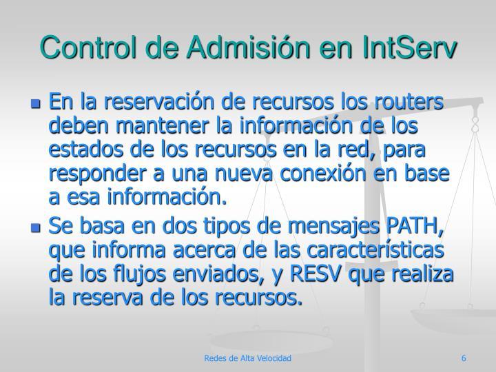 Control de Admisión en IntServ