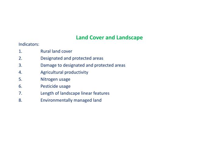 Land Cover and Landscape