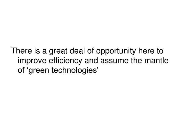 There is a great deal of opportunity here to improve efficiency and assume the mantle of 'green technologies'