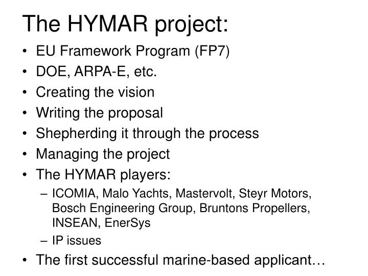 The HYMAR project: