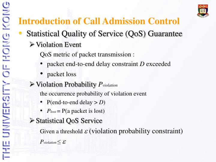 Introduction of Call Admission Control