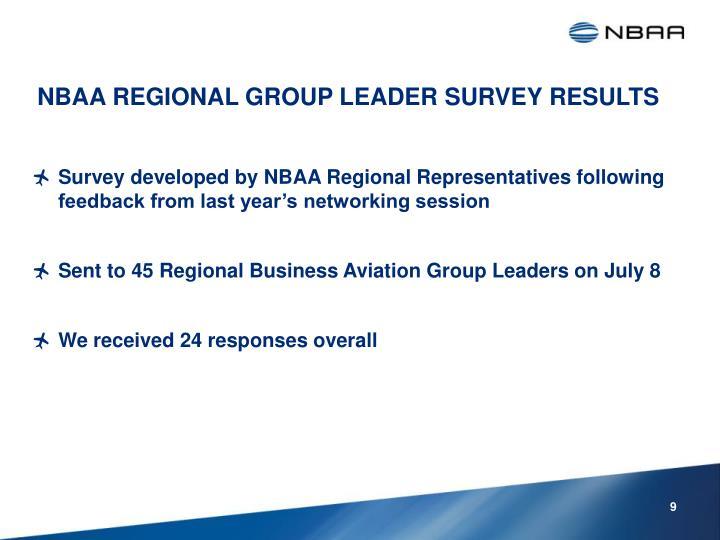 NBAA REGIONAL GROUP LEADER SURVEY RESULTS