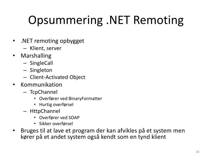 Opsummering .NET