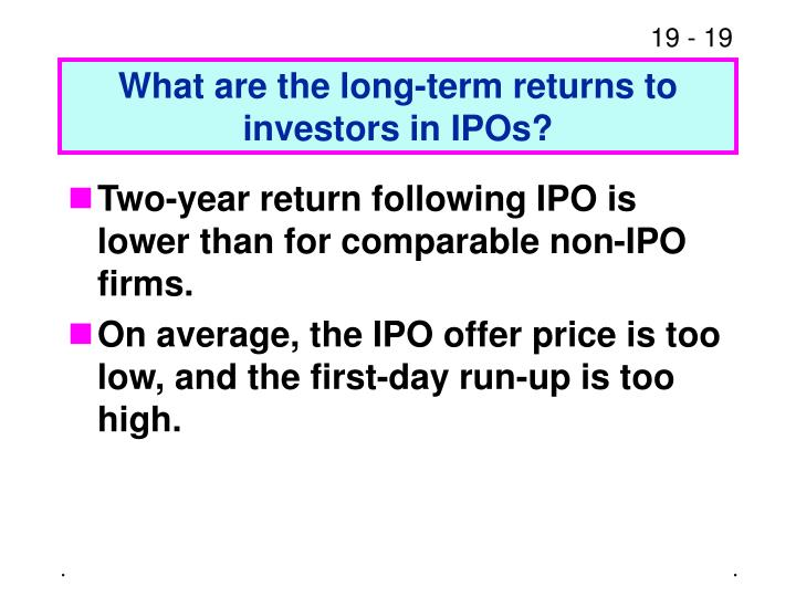 What are the long-term returns to investors in IPOs?