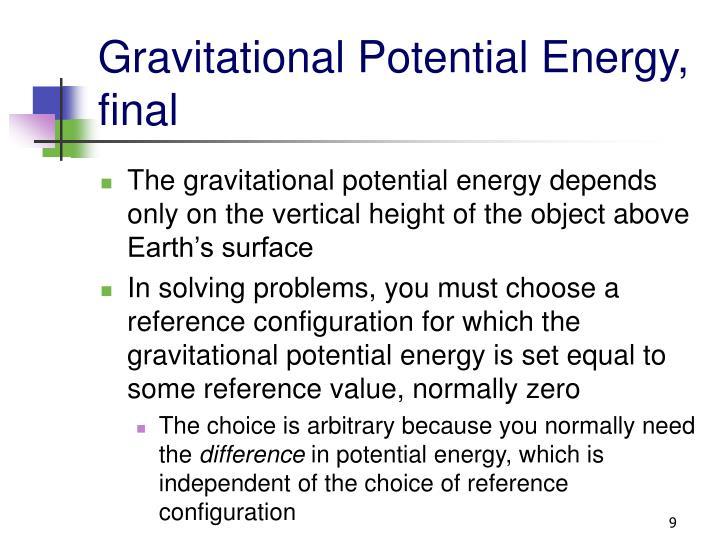 Gravitational Potential Energy, final