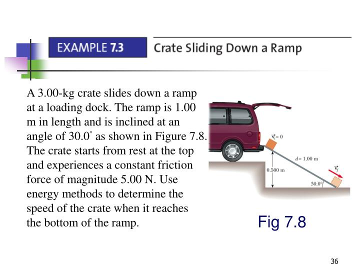 A 3.00-kg crate slides down a ramp at a loading dock. The ramp is 1.00 m in length and is inclined at an angle of 30.0° as shown in Figure 7.8. The crate starts from rest at the top and experiences a constant friction force of magnitude 5.00 N. Use energy methods to determine the speed of the crate when it reaches the bottom of the ramp.