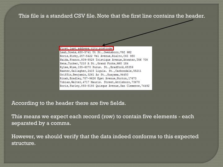 This file is a standard CSV file. Note that the first line contains the header.