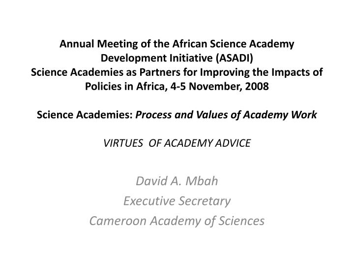 David a mbah executive secretary cameroon academy of sciences